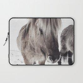 snowy Icelandic horse bw Laptop Sleeve