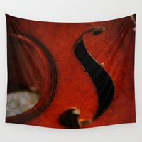 violin Wall Tapestries featuring Violin F-Hole by KimberosePhotography