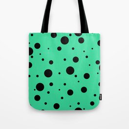 Black Bubbles On Green Tote Bag