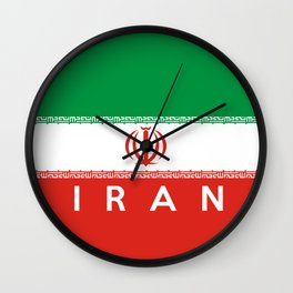 Iran country flag name text Wall Clock