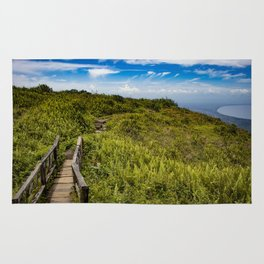 Beautiful Wooden Bridge Leading up to a Lake View on top of Mombacho Volcano, Nicaragua Rug