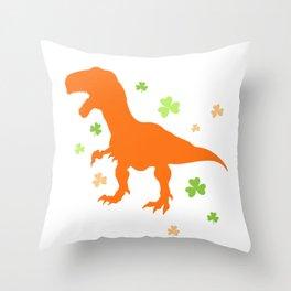 Lucky Orange Dinosaur St Patrick's Day Clover Cute Design Throw Pillow