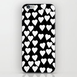 Hearts White on Black iPhone Skin
