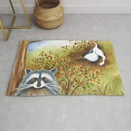Silly Dog  Jack Russell Terrier, Raccoon, Landscape Painting, Original Art Rug
