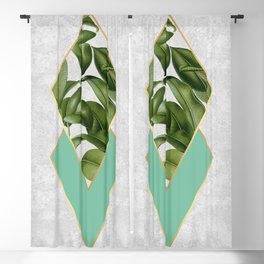 Leaves on marble Blackout Curtain
