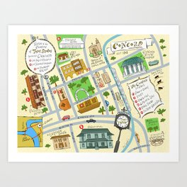 Illustrated Map of Concord California Art Print