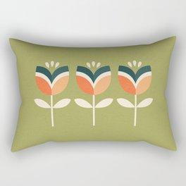 RETRO TULIP - ORANGE AND OLIVE GREEN Rectangular Pillow