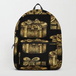 Golden Christmas Present Decor Backpack