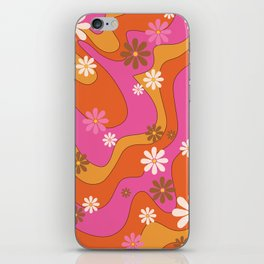 Groovy 60's and 70's Flower Power Pattern iPhone Skin