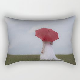 Bride with red umbrella Rectangular Pillow