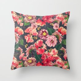 Vintage Flowers and Bees Throw Pillow
