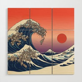 The Great Wave of Sloth Wood Wall Art