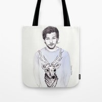 coconutwishes Tote Bags featuring Louis and his deer by Coconut Wishes