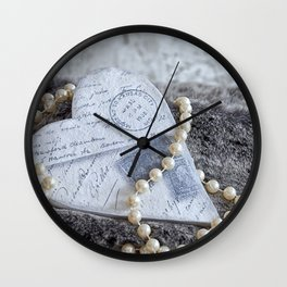 Heart With Fake Fur And Pearls Wall Clock
