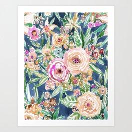 Navy MAUI MINDSET Colorful Tropical Floral Art Print