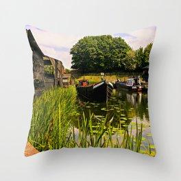Canal dock. Throw Pillow