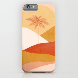 Peachy Tropical Palm Sunset #abstractlandscape iPhone Case