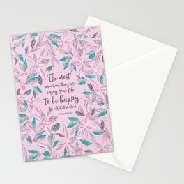 Flower of a brush touch design illustration / Pink Stationery Cards