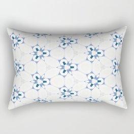 Blue White Abstract Pattern Rectangular Pillow