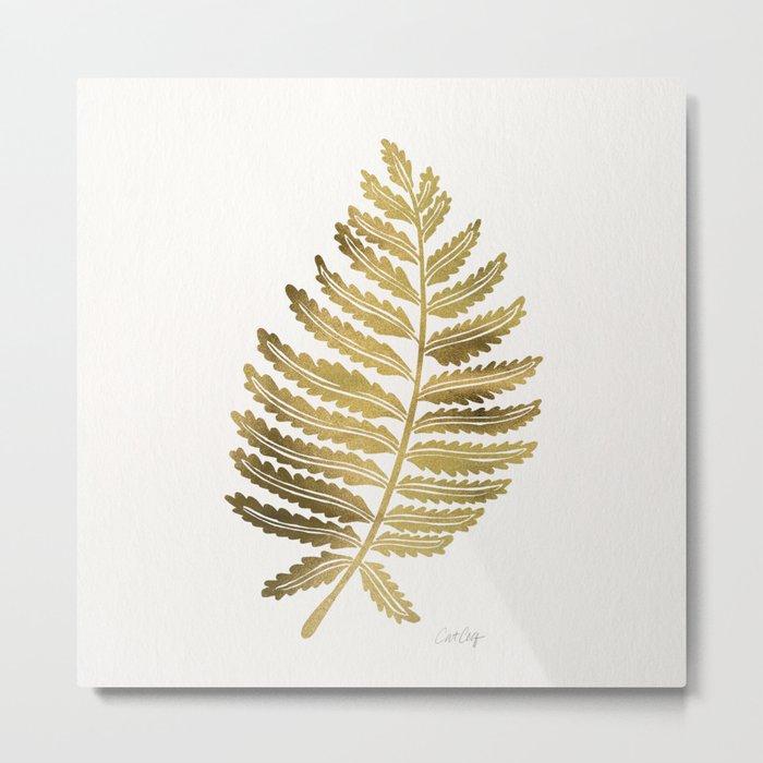 Golden Fern Leaf Metal Print