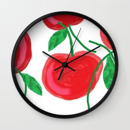 Cherries, The Cherry on top, big red round juiciness Wall Clock