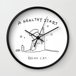 Relax Cat, A Healthy Start, Washing Wall Clock