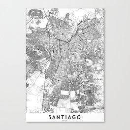 Santiago White Map Canvas Print