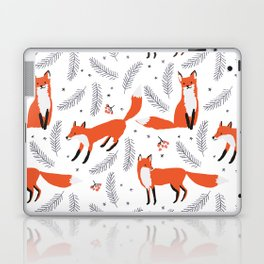 Red foxes and berries in the winter forest Laptop & iPad Skin
