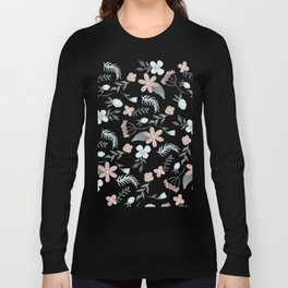 Modern soft pastels beige green floral pattern Long Sleeve T-shirt