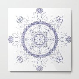 Flowered and Flourished Lilac Mandala Metal Print
