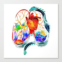Breathe it in // anatomical lungs illustration Canvas Print