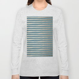 Abstract Stripes Gold Tropical Ocean Blue Long Sleeve T-shirt