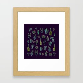 Dark Watercolour Cactus Framed Art Print
