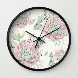 Pink Echeveria Light Green #society6 #buyart Wall Clock