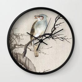 Waxwing Bird sitting on a Tree - Traditional Japanese Woodblock Print Art Wall Clock