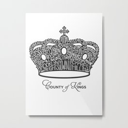 County of Kings | Brooklyn NYC Crown (GREY) Metal Print