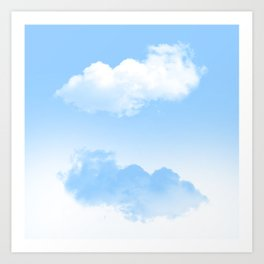 white and blue clouds Art Print