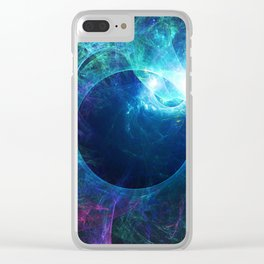Abstract colorful shiny print graphic with planet space Clear iPhone Case