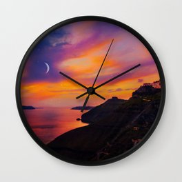 Santorini,Fira,Sunset Wall Clock
