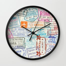 Vintage World Map with Passport Stamps Wall Clock