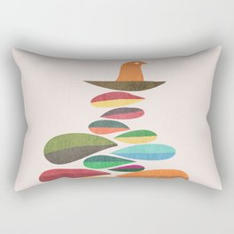Bird nesting on top of pebbles hill Rectangular Pillow