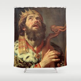 Gerard van Honthorst - King David Playing the Harp Shower Curtain