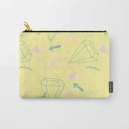 Memphis Pattern - Gemetrical  Retro Art in Yellow and Pink - Mix & Match With Simplicity Of Life Carry-All Pouch