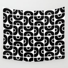 Groovy Mid Century Modern Pattern Black and White Wall Tapestry