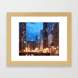 Chicago Night on Lasalle Street Framed Art Print