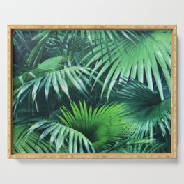 Tropical Botanic Jungle Garden Palm Leaf Green Serving Tray