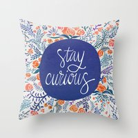 navy Throw Pillows featuring Stay Curious – Navy & Coral by Cat Coquillette