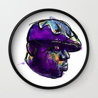 biggie smalls Wall Clocks featuring Biggie Smalls by William Benitez
