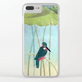 Kingfisher and Lotus Clear iPhone Case