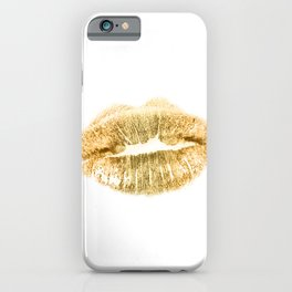 E 21 Gold Lips iPhone Case